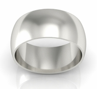 Platinum Wedding Ring Domed 10mm