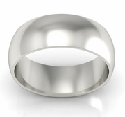 Platinum Wedding Ring Domed 8mm