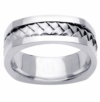 Platinum Wedding Ring in 7.5mm Comfort Fit Mens or Ladies Handmade Wedding Band