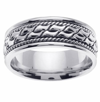 Platinum Wedding Ring Men 8mm Comfort Fit Handmade