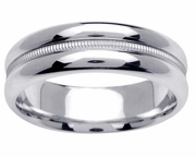 Polished Platinum Ring with Center Groove