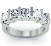 Princess Cut Anniversary Ring Bar Set
