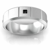 Princess Cut Black Diamond Wedding Band with Grooves and Beveled Edges