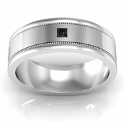 Princess Cut Black Diamond Wedding Ring with Milgrained Grooves