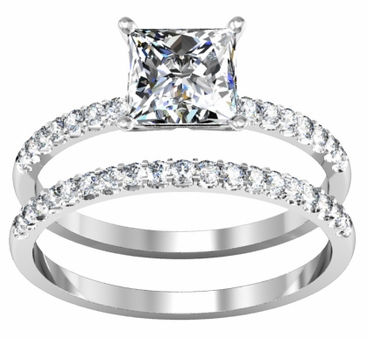 Princess Cut Diamond Engagement Ring with Matching Wedding Ring - click to enlarge