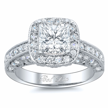 Princess Cut Diamond Setting Framed by Halo Round Diamonds - click to enlarge