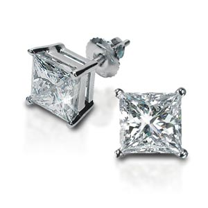 Princess Cut Diamond Stud Earrings 14kt