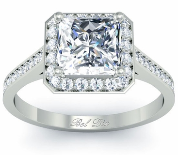 Princess Cut Engagement Ring with Halo - click to enlarge