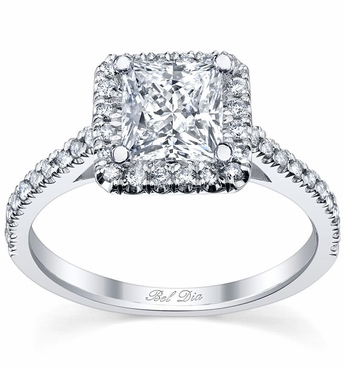 Princess Cut Halo Engagement Ring Setting with Diamond Accents - click to enlarge