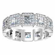Princess Diamond Halo Eternity Ring