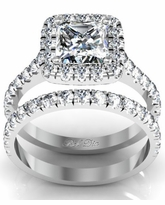 Princess Halo Engagement Ring and Matching Wedding Ring