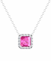 Princess Halo Pendant with Pink Sapphire and Diamonds
