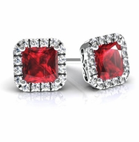 Princess Halo Studs with Rubies