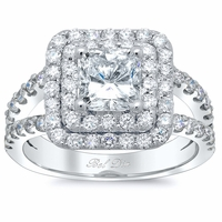Princess Low Split Double Halo Engagement Ring