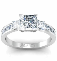 Princess Three Stone Ring with Princess Accent Diamonds