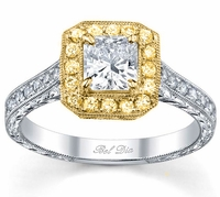 Princess Yellow Gold Halo Engagement Ring with Yellow Diamonds