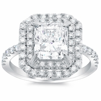 Radiant Double Halo Engagement Ring