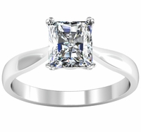 Radiant Double Prong Tapered Solitaire Setting 2.7mm Wide