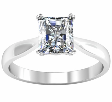 Radiant Double Prong Tapered Solitaire Setting 2.7mm Wide - click to enlarge