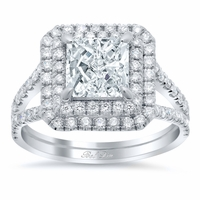 Radiant Low Split Double Halo Engagement Ring