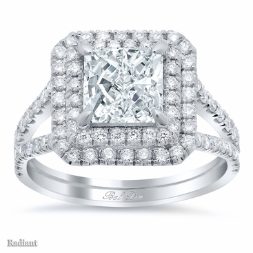Radiant Low Split Double Halo Engagement Ring - click to enlarge