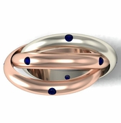 Two Tone Gold Rolling Ring with Blue Sapphires