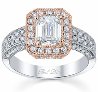 Rose Gold Halo Diamond Engagement Ring Setting