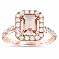 Rose Gold Halo Engagement Ring for Emerald Morganite