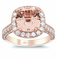 Rose Gold Halo Engagement Ring Setting with Morganite