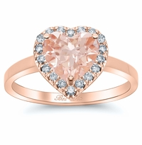 Rose Gold Heart Morganite Engagement Ring
