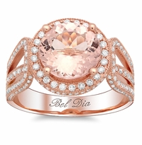 Rose Gold Round Halo Engagement Ring with Morganite