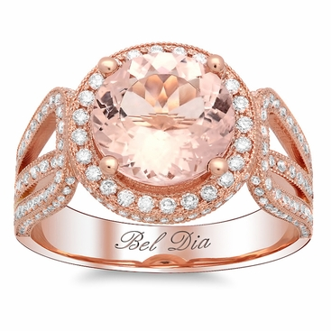 Rose Gold Round Halo Engagement Ring with Morganite - click to enlarge