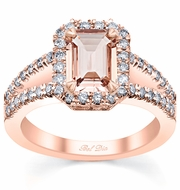 Rose Gold Split Shank Emerald Morganite Halo Engagement Ring