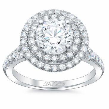 Round Baby Split Double Halo Engagement Ring - click to enlarge