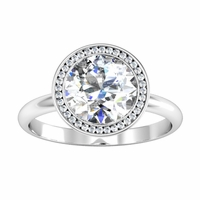 Round Bezel Halo Engagement Ring