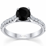 Round Black Diamond Engagement Ring with Accents