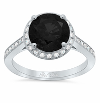 Round Black Diamond Halo Engagement Ring