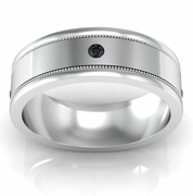 Round Black Diamond Wedding Ring with Milgrained Grooves