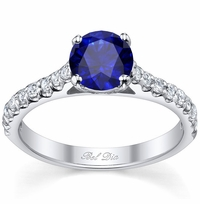 Round Blue Sapphire Engagement Ring with Accents