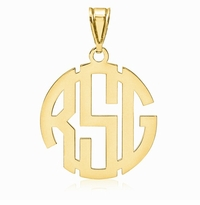 Round Carved Monogram Pendant