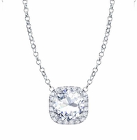 Round Cushion Halo Forever One Moissanite Pendant