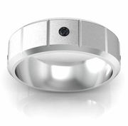 Round Cut Black Diamond Wedding Ring with Grooves and Beveled Edges