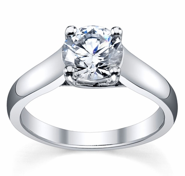 Round Cut Trellis Solitaire Diamond Ring 3.5mm - click to enlarge