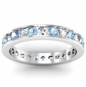 Round Diamond and Aquamarine Eternity Ring in Channel Setting