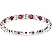 Round Diamond and Garnet Eternity Band