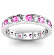 Round Diamond and Pink Sapphire Eternity Band in Channel Setting