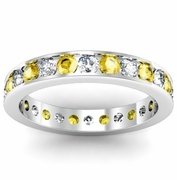Round Diamond and Yellow Sapphire Eternity Ring in Channel Setting