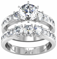 Round Diamond Engagement Ring Wedding Set