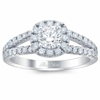 Round Diamond in Cushion Halo Engagement Ring