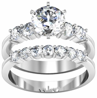 Round Diamond Matching Wedding Set Engagement Ring